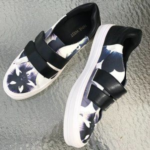 NINE WEST FLORAL VELCRO SNEAKERS SZ 7.5